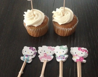 24 Hello Kitty Cupcake Toppers Food Picks Birthday Party
