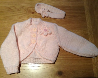 Hand knitted bolero cardigan with matching headband age 3-6 months