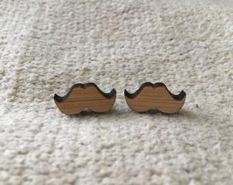 Wooden bamboo earrings mustache