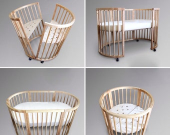 Oiled wooden baby crib/ toddler bed from solid birch wood
