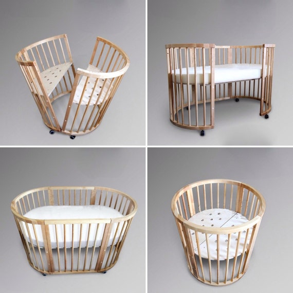 Unique Stained Solid Wood Baby Crib Bed By Skobowood On Etsy