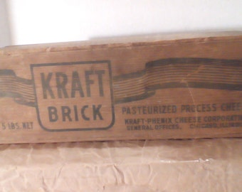 Vintage Kraft Pasteurized Process Cheese Brick 5lb Box! All wood, 40's or 50's!