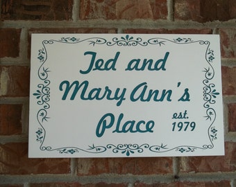 Indoor/outdoor personalized wall sign, front/back door, home decor