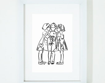 Three little girls, Illustration Kids Art Print, Kids Room decor, Nursery, Baby, Wall Art, Poster, Girls Room Decor
