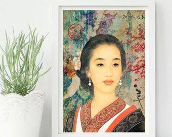 Asian girld -Asian, China, Japan, color, Ancient, Home deco, elegant- ref.05