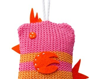 Hand Made Knitted Tiny Birdy Toy - Pink