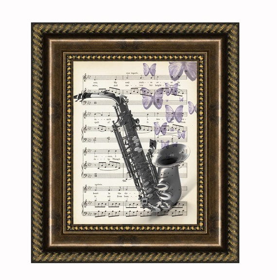 Saxophone With Butterflies On Antique Music Page