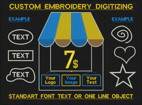 Custom Embroidery Digitizing For Machine Embroidery - standart font text, one line objects, one color objects