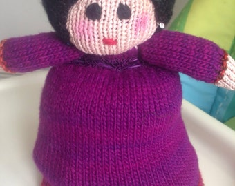 Knit Topsy-Turvy doll. Handmade.
