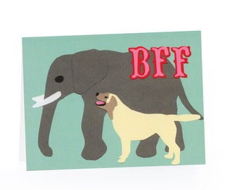 BFF Blank Card (Elephant and Dog)