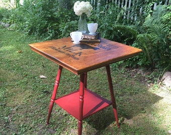 Handpainted Barn Red Farmhouse Accent Table