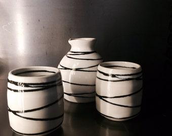 Japanese sake set signed