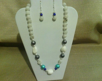 388 Unique Style Silver Filigree Beads and Malaysian White Jade Beaded Choker
