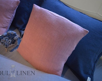 "Linen decorative pillow case ""Nostalgia rose"""
