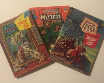 Vintage Comic Digest Set of 3 Mystery Comics Digest (2) and The House of Mystery (1). 1970's-1980's