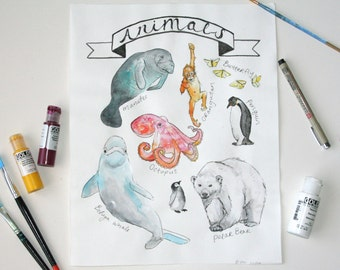 CUSTOM Animal Painting - Artwork - Wall decor - Nursery decor - Wall art - Home decor - Kids room - Animal lovers - Art gift - Animal art