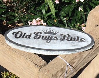Old Guys Rule concrete Yard Garden Decor stepping stone