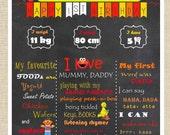 Promotional Offer- 25% off- Elmo inspired Sesame Street Birthday Record Chalkboard Poster