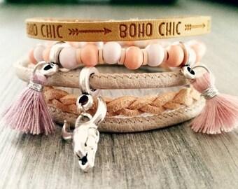 Leather Bracelet boho beads with pendants