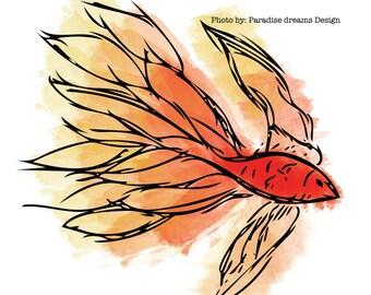 Red Fish Wall art,Printable,download,watercolour,orange,yellow,hand drawn,gift,modern,decor,pastel,ocean,beach,fire,D-00016