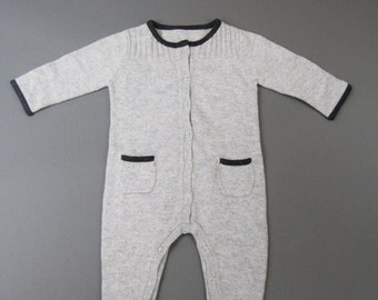 Baby Boy Girl Cashmere Gray Overall 6-12 Months