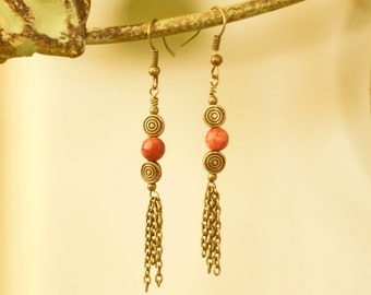 Antiqued Brass and Coral Dangle Earrings with Chain
