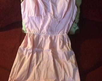 Women's vintage white polka dot pink dress