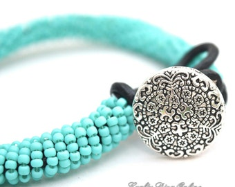Matte Turquoise Bead Wrapped Leather Bracelet