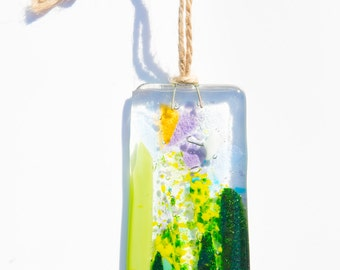 Handmade pretty floral fused glass sun catcher