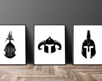 Knight Helmet Print Set Gladiator Helmet Art Medieval Armour Print Medieval Helmet Art Fantasy Art Man Cave Idea Boys Room Gifts for Him