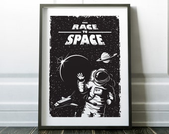 Space Poster, Space Art, Prints, Minimalist Art, Retro Space Print, Minimalist Black and White Art, Modern Poster, Wall Art, Minimalist