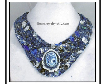 Shades of Blue Denim Quilted Cameo Bib Necklace