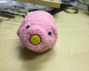 Handmade stuffed toy pig