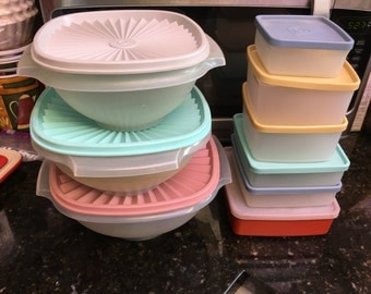 Vintage Tupperware Storage bowls and squares