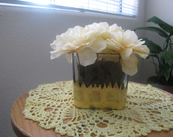 Gold Leafed Glass Vase with Flowers