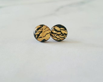 Black and gold studs , gold earrings , black studs , foil studs