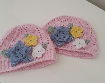 Girls hats with flower detail