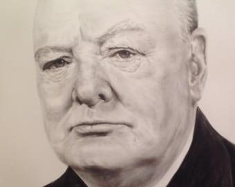 Winston Churchill Portrait Realistic Portrait Dry Brush Gift For Dad Men's Portrait Oil Portrait From Photo Custom Portrait Anniversary Gift
