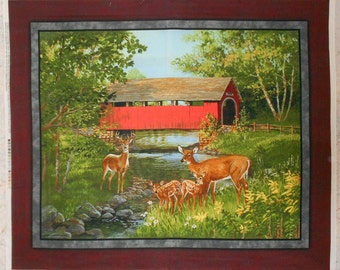 "Deer with Covered Bridge Outdoor/Wildlife/Animal Fabric Panel-approx. 36"" x 43"""