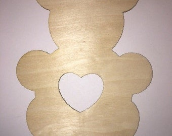 Laser Cut Bear with Heart, Multiple Sizes, Crafting Supplies, Wall Decoration, Personalized Craft, Crafting Supply, Crafting Supplies