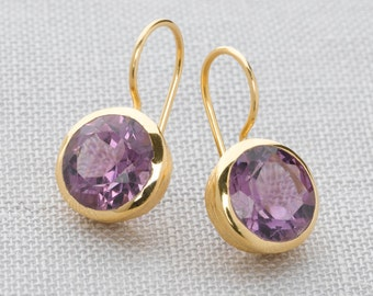 Handmade, 18k Gold Plated Sterling Silver Amethyst Drop Earrings