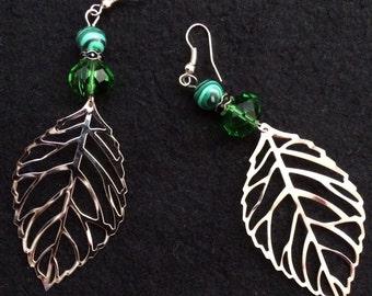Earrings: large leaves