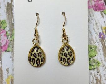 10x14MM Leopard Teardrop Dangle Earrings in Gold