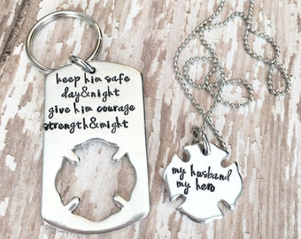 Firefighter keychain, strength and might, my husband my hero, gift for him, gift for her, personalized, necklace keychain, matching set,