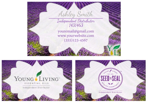Young Living business cards Lemon Lavender or Peppermint