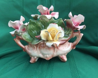 1940s Large Capodimonte Flower Basket Made in Italy ~ Center Piece ~ Italian Roses ~ Hand Painted Roses ~ Flower Basket ~ Porcelain Roses