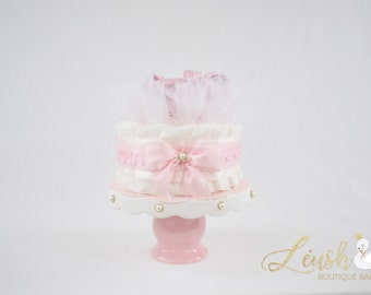 SALE! (Save 40% instantly) Sweet Pea Pink Moccasin Mini Diaper Cake (#10)
