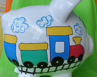 Personalized Large Piggy Bank - Boy's Room Hand Painted Train Design Ceramic Piggy Bank with Name