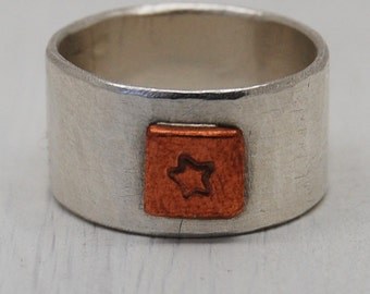 Sterling Silver Wide Chunky Hammered Ring with Copper Star