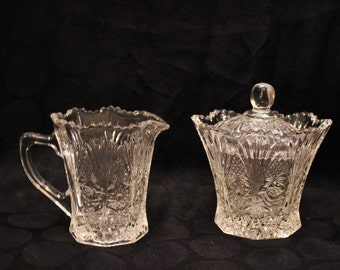 Delicate Patterned Crystal Sugar and Creamer Set
